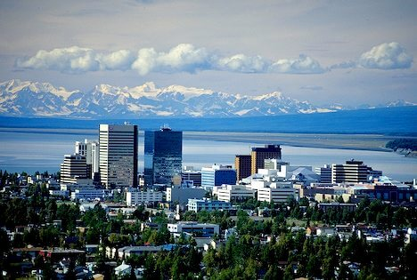 Alaska Range and Anchorage City Scape
